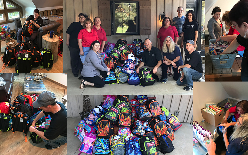 Filling backpacks for foster children